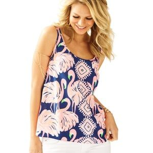 Lilly Pulitzer COSMOS SLEEVELESS SILK TOP Size XS